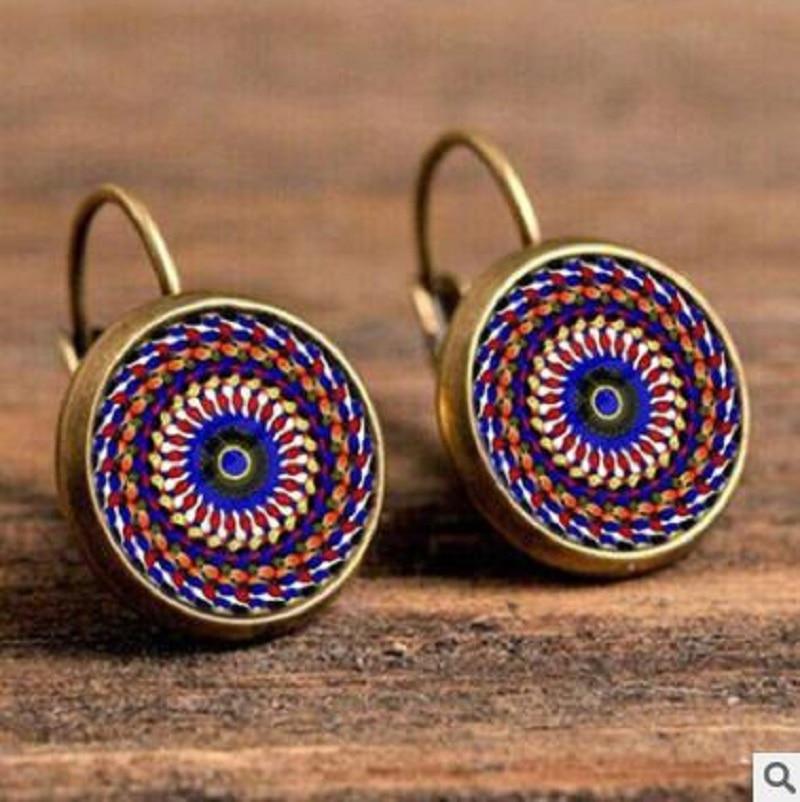 Exknl Boho Flower Drop Earrings For Women Vintage Jewelry Geometric Pattern Round Earings Bijoux boucles d'oreilles bohemia 9