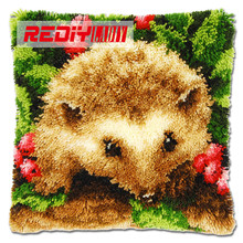 REDIY LADIY Latch Hook Cushion Kits for Yarn Embroidery Home Sofa Car Decorative Pillow Case Hedgehog Pre-Printed Canvas Crafts(China)