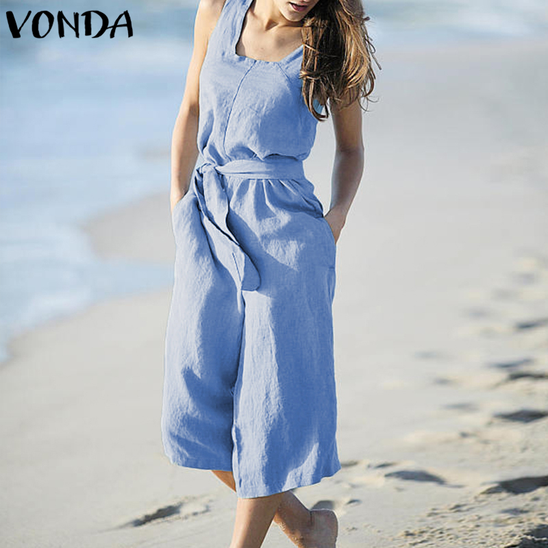 VONDA Rompers Womens Jumpsuit Summer Cotton Vintage Sleeveless Belt Wide Leg Pants Playsuit Casual LooseOveralls Plus Size 3