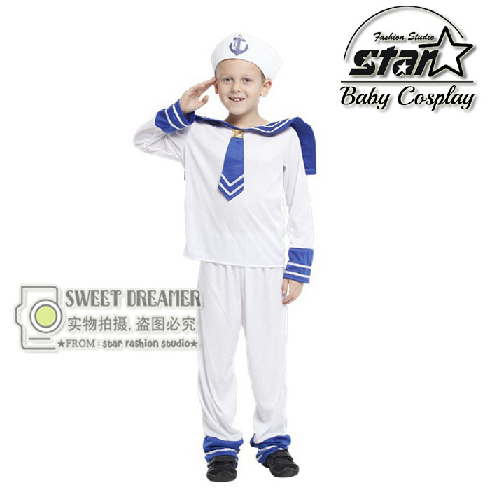 Children's Halloween Costumes Boys Kids Seaman Navy Sailor Costume Cosplay Fantasia Cute Performance Stage Uniforms arya 4 cherry 1025577