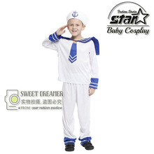 Children's Halloween Costumes Boys Kids Seaman Navy Sailor Costume Cosplay Fantasia Disfraces Performance Stage Uniforms