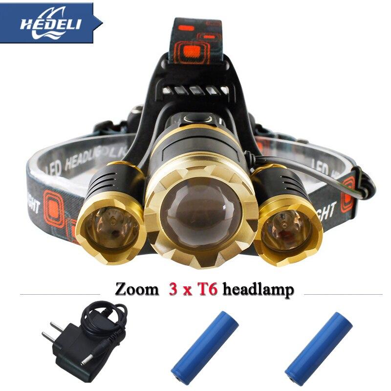 10000 lumens 3T6 led headlight cree xm l t6 head lamp waterproof lights headlamp18650 rechargeable battery