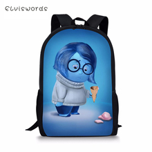 ELVISWORDS Childrens Backpack Cartoon Inside Out Prints Pattern Kids Fashion Design Toddler Primary School Book Bags