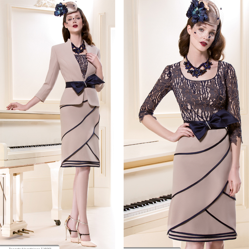 Hot Sale!2015 Champagne Lace Applique Knee-length Long Mother of the Bride Dresses with Jacket for Wedding Party(MO-8165)