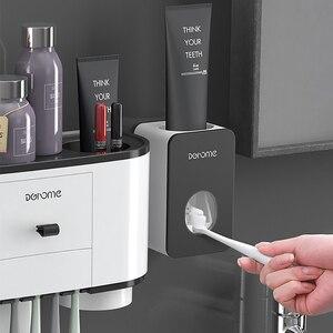 Image 4 - ONEUP Tandenborstelhouder Automatische Tandpasta Dispenser Squeezer Wall Mount Badkamer Opbergrek Thuis Badkamer Accessoires Sets