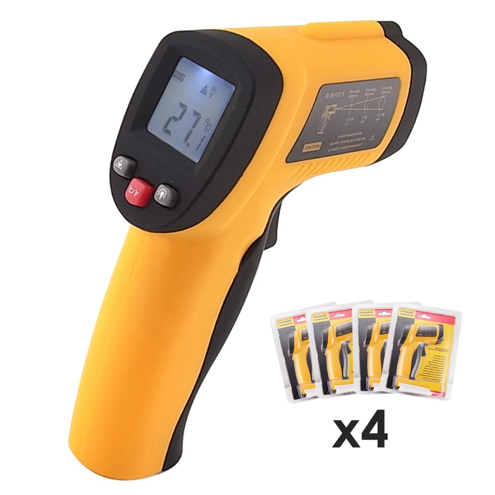 4 pieces x Handheld Non-Contact 12:1 DS IR Laser Infrared Digital Thermometer + Laser Target Pointer lot of 4