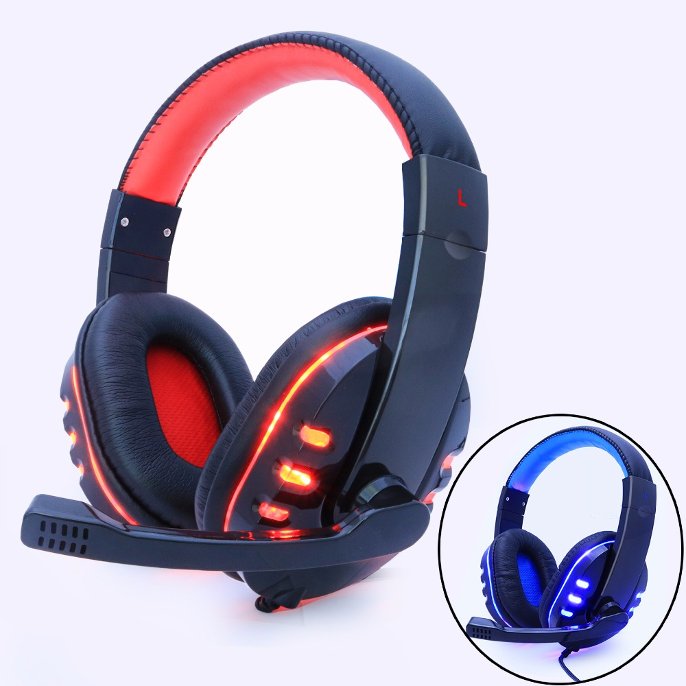купить Adjustable 3.5mm Headphone Game Gaming Headphones Headset Deep Bass Stereo With Mic Wired led light For PC Laptop Gamer Earphone недорого