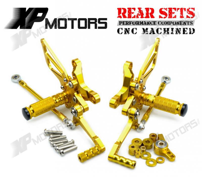 Gold CNC Adjustable Foot Pegs Billet Racing Rearset Kits Rear Sets For Ducati 1098 R 2007 2008 2009