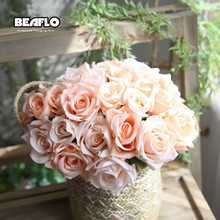 1 Bunch Roses Artificial Flowers Fake Plastic Silk Flower Bridal Bouquet for Wedding Home Decoration 6 Color B1001