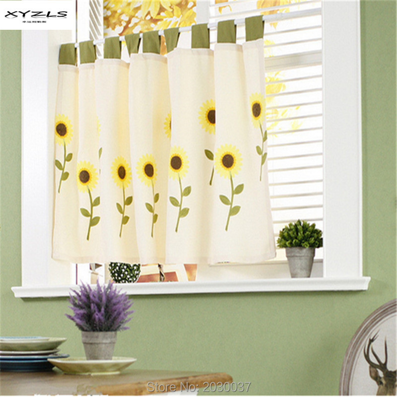 XYZLS Pastoral Style Sunflower Tap Top Blinds Half Curtains For Living Room Kitchen  Curtains Coffee Window Srceening Curtains
