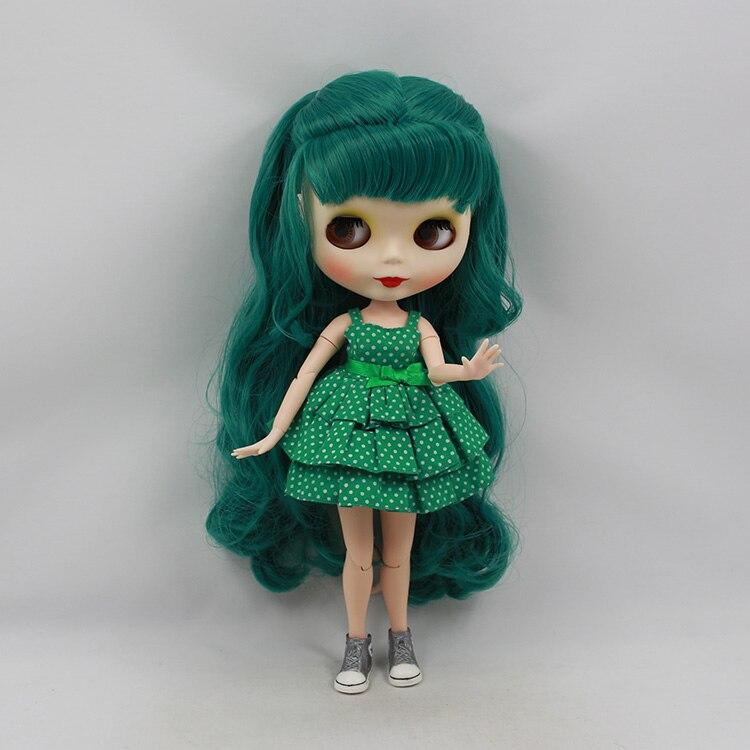 Beaukiss Fashion Nude Blyth Doll Green Long Hair With Bangs 30cm Mini DIY Blyth Joint Body Doll Girl Toys