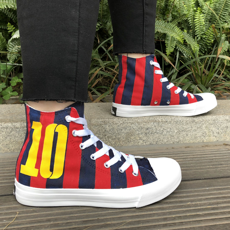 Wen Original Soccer Jersey Football Number 10 Adult Design Hand Painted Athletic Shoes High Top Men Women's Canvas Shoes Sneaker tiebao soccer sport shoes football training shoes slip resistant broken nail professional sports soccer shoes