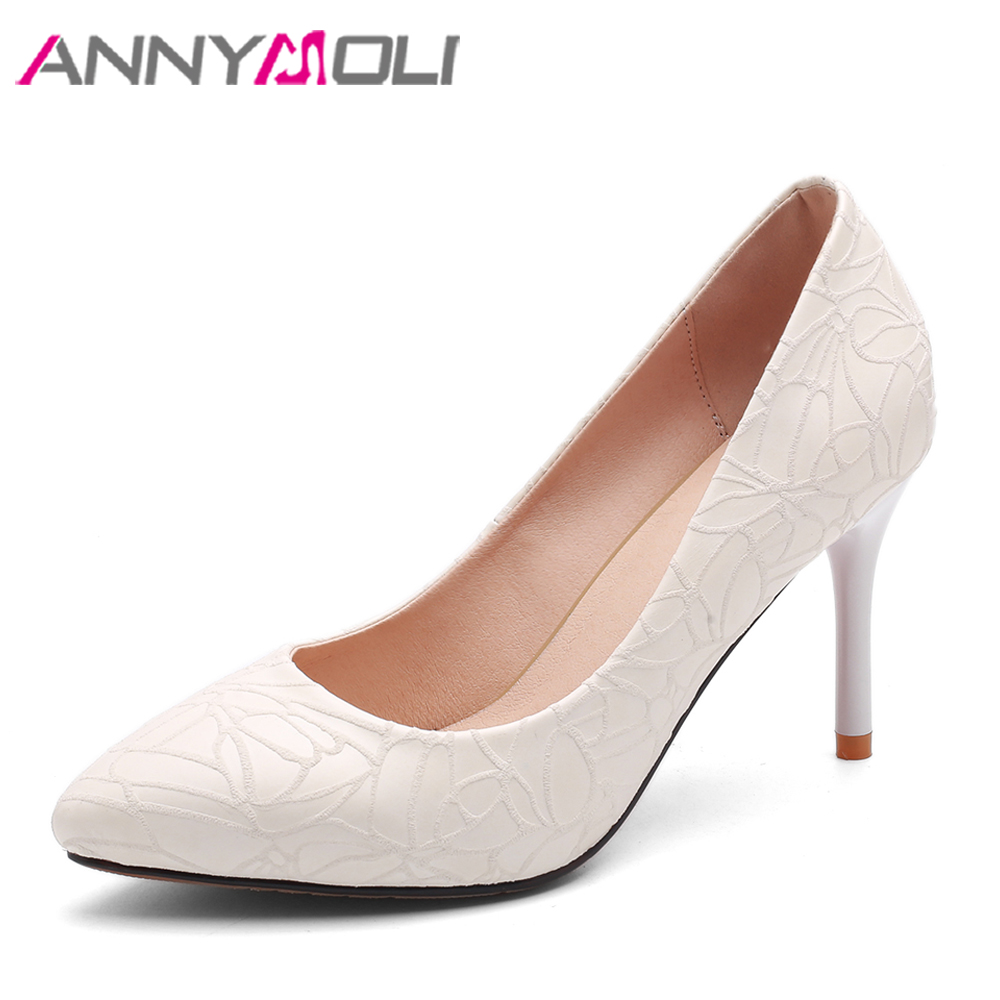 ANNYMOLI Bridal Wedding Shoes Women Pumps High Heels Pointed Toe Party Shoes Thin Heels Ladies Spring Shoes White Red Size 33-40 annymoli women pumps high heels platform open toe bow women party shoes peep toe high heels luxury women shoes size 43 33 spring