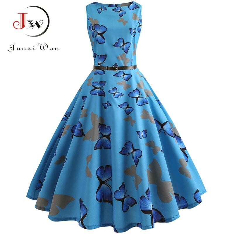Летнее платье с принтом бабочки, женское цветочное винтажное платье, Элегантное Вечерние платье без рукавов, повседневное офисное платье, б...