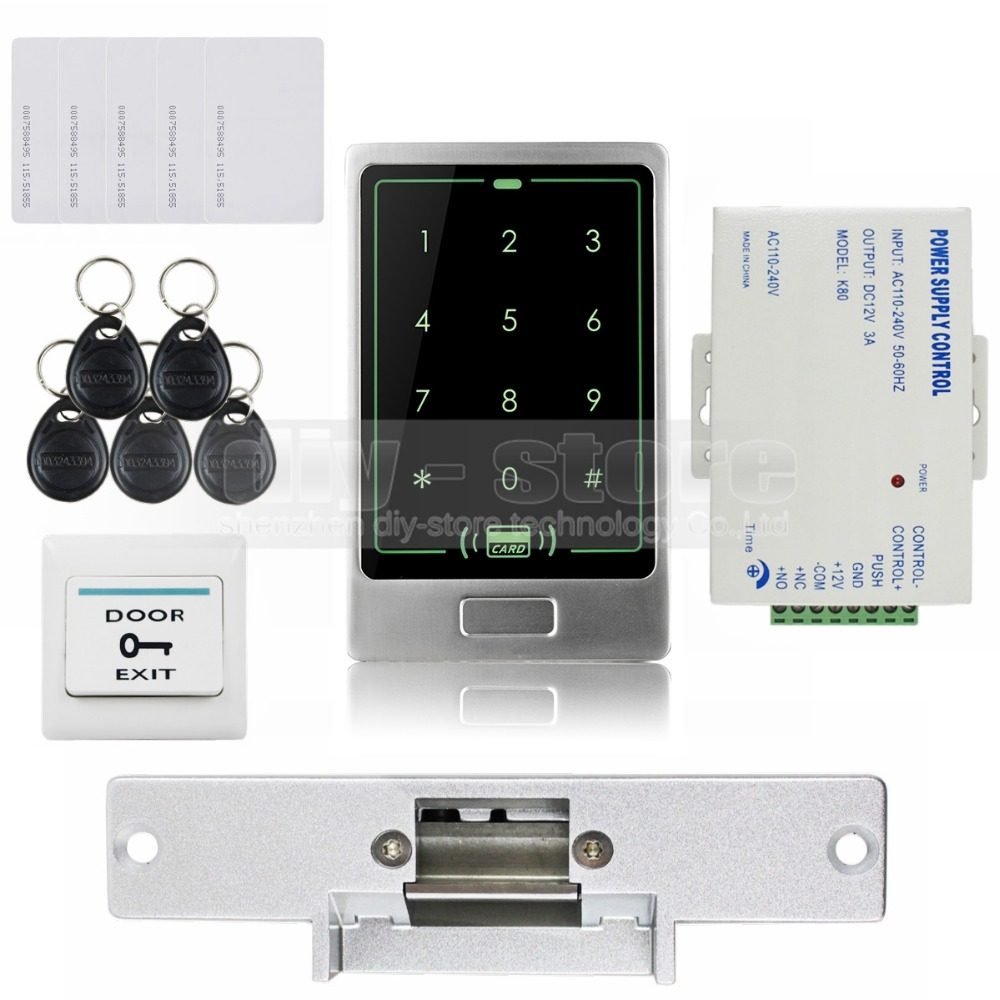 DIYSECUR 125KHz RFID Touch Reader Password Keypad Door Access Control Security System Kit + Strike Lock C20 diysecur electric lock waterproof 125khz rfid reader password keypad door access control security system door lock kit w4