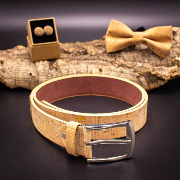 Cork Men Belt Vegan Belt Mens Handmade Natural Leather Belt Brown Color Wooden Belt L-033-A/B