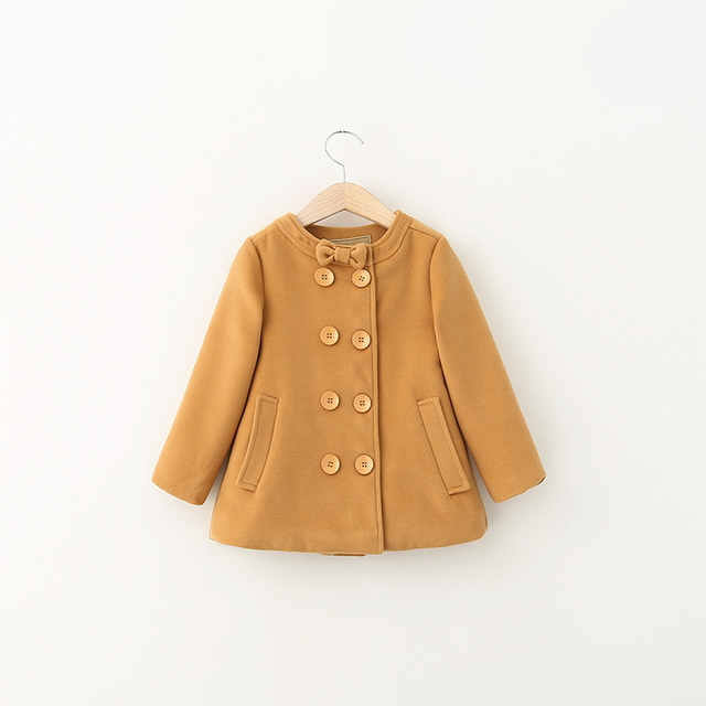 Baby Girls Autumn Wool Coats Bow Collar Button And Pockets Clothes Winter Kids Solid Outerwear Children Blends Clothing 5pcs/LOT