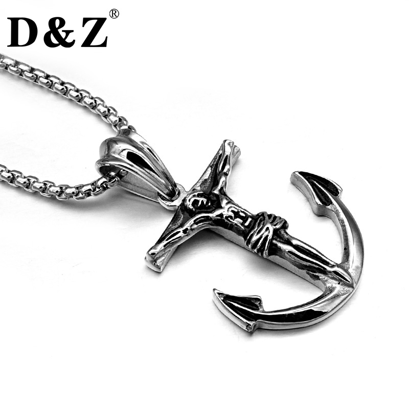 D&Z Vintage Jesus Cross Anchor Necklace Black Color Casting 316L Titanium Stainless Steel Pendant Necklaces for Men Jewelry