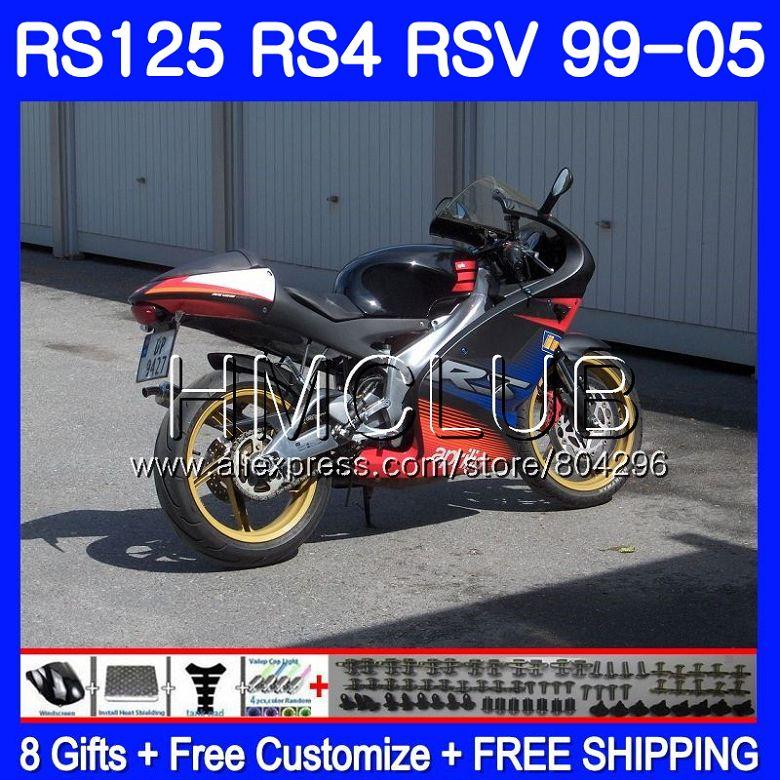 RS4 For Aprilia Black Red New RS 125 99 00 01 02 03 04 05 122HM17 RSV125R RS-125 RSV125 R 1999 2000 2001 2002 2003 2005 Fairings