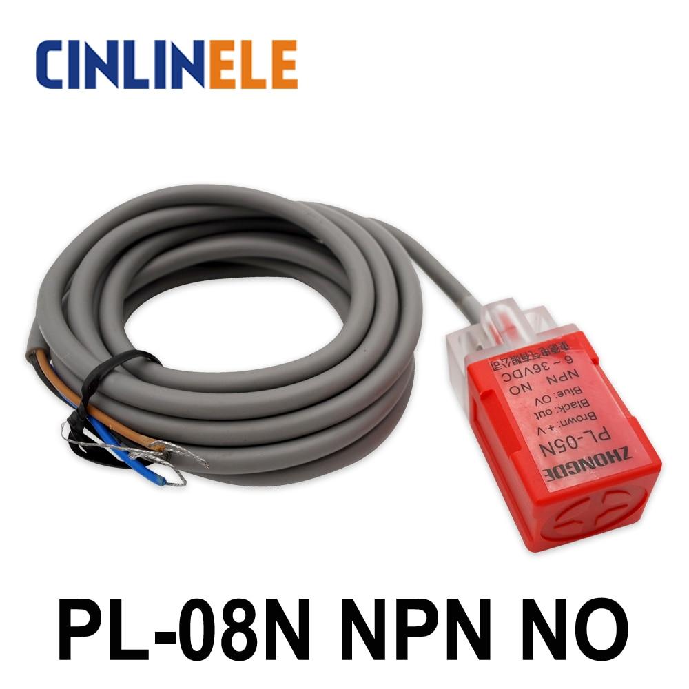 PL-08N 8mm sensing DC NPN NO Cube shell inductive Screen shield type proximity switch LP08 proximity sensor 17*17*35 1pc riko proximity sensor rn04 n dc10 30v sensing distance 5mm