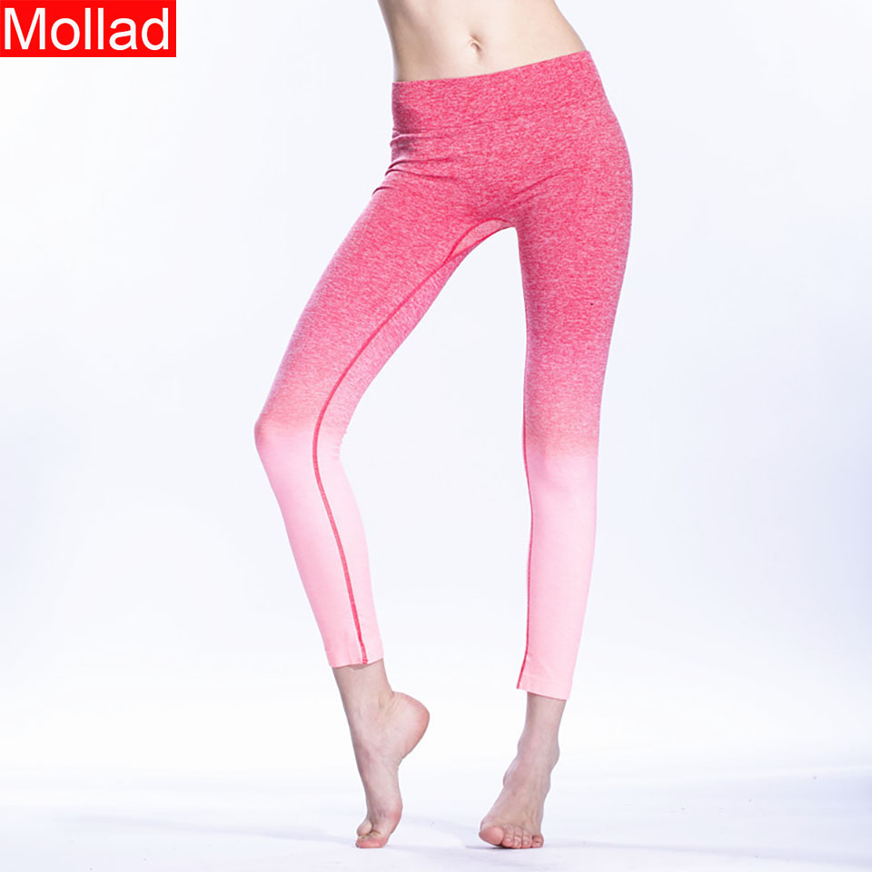 2018 Fitness Clothing High Elastic Bodybuilding Workout Women Leggings Ombre Color Female Legging Pants