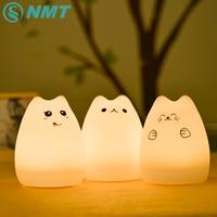 Silicone Animal LED Night Light Enfants RGB Tactile Capteur Nuit Lampe USB Rechargeable Chambre Lumière pour Enfants Bébé
