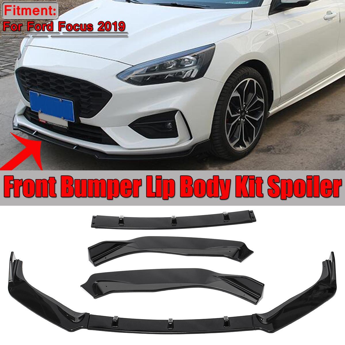 Noir brillant voiture pare-chocs avant lèvre corps Kit séparateur Spoiler pour Ford pour Focus 2019 voiture pare-chocs avant lèvre diffuseur déflecteur