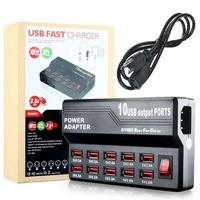 10 Ports 5 V 12A USB Rapide Chargeur Station Adaptateur De Bureau Mur Chargeur accueil Voyage Adaptateur pour iPhone 7 6 6 s Plus 5 5S