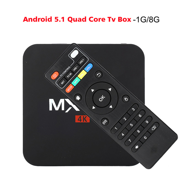 S905 MXQpro-4K S905 Android TV Box Amlogic Quad Core Android 5.1 DDR3 1 GB HDMI 2.0 WIFI 4 K 1080i/p KDOI Completo cargado complementos