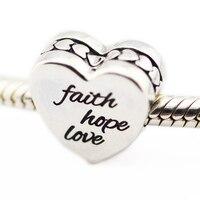 Past voor Pandora Bedels Armbanden 100% 925 Sterling-Zilver-Sieraden Geloof, hoop, liefde Kralen met Zwart Emaille Gratis Verzending
