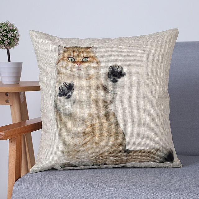 5 Styles Standing Fat Cat Cushion Cover Lovely Kitty Thin Linen Cotton  Pillow Case 45X45cm Baby