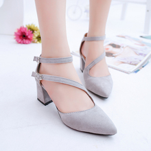 Summer Style PumpsShoes Flock Pointed Toe Mary  High Heels Casual Autumn Elegant Ladies Buckle Strap Shoes