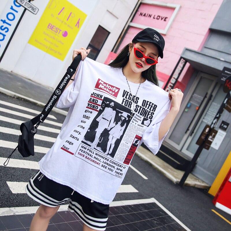 Noir Rayé Nouveau shirts Style D'été Costumes Deux Élastique Pièces D'o Femmes Q477 Dames White cou Imprimer De Mode Taille Rue Lâche Shorts T La Ensemble qU56xFTwBd