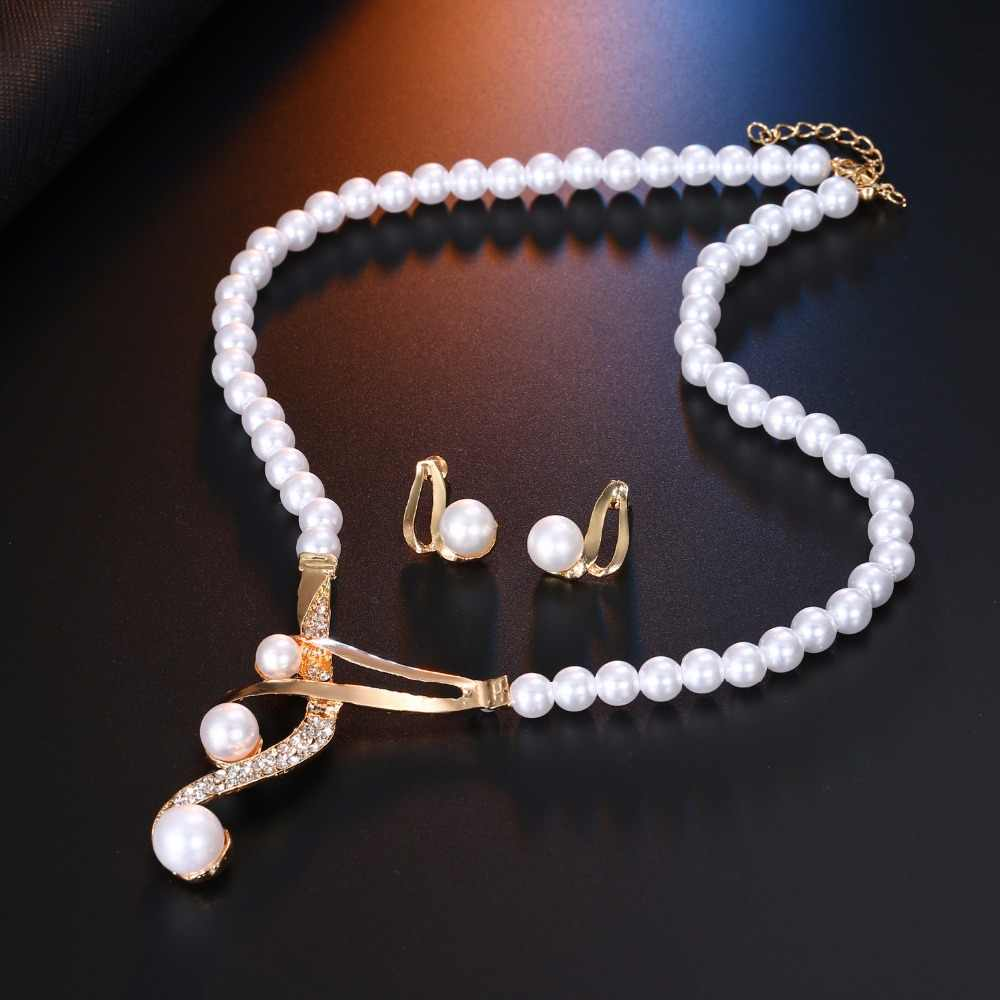 AILEND New Design Jewelry Necklace Earrings Set Pearl Clavicle Necklace Jewelry Pearl Necklace Earrings Set Two-piece