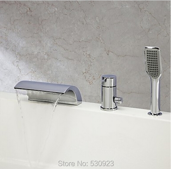 New Arrival Contemporary Chrome Finish Bathroom Tub Faucet Set W/ ABS Handheld Shower 3Pcs Mixer Tap Bathtub Faucet Deck Mounted new chrome finish wall mounted bathroom shower faucet dual handle bathtub mixer tap with ceramic handheld shower head wtf931