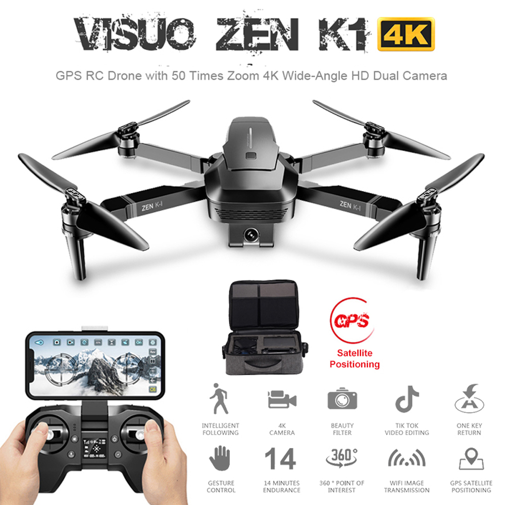 ZEN Visuo K1 GPS Zangão RC com 50 Vezes Zoom 4K Grande-Angular HD Dual Camera 5G wi-fi FPV Brushless Motor Vôo 28 minutos Dron VS F11