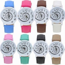 New Women's Snail Dial Faux Leather Band Casual Gift Analog Quartz Wrist Watch 181 G6TN 98Z2