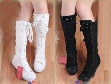 ขายร้อน!ผู้หญิงบู๊ทส์ผ้าใบลูกไม้ขึ้นเข่าผู้หญิงรองเท้าสูงรองเท้ารองเท้าแบนสบายๆสูงพังก์รองเท้าผู้หญิงUS4-10