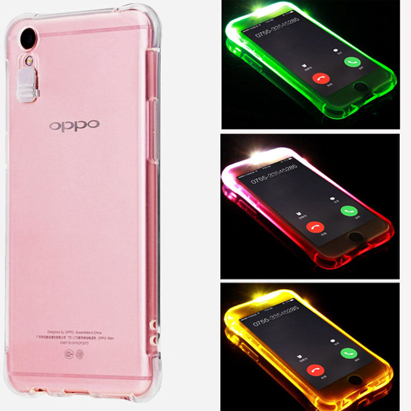Phone Case for OPPO R11 F1 Plus A37 A39 A57 A59/F1s LED Flash Light Reminding Case Remind Incoming Call Airbag Anti-knock Cover