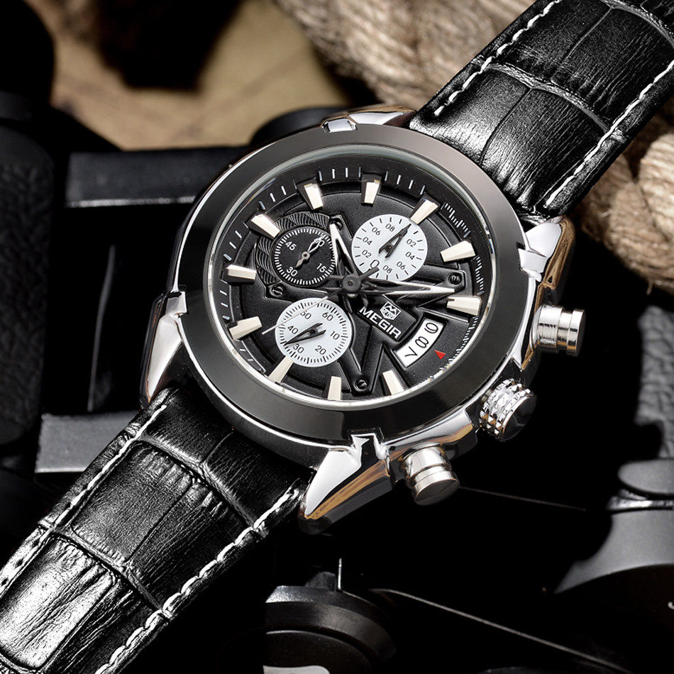 MEGIR Chronograph Quartz Watch Blue Dial Leather Slim Men Watches Multi function Fashion Casual Waterproof Wristwatches