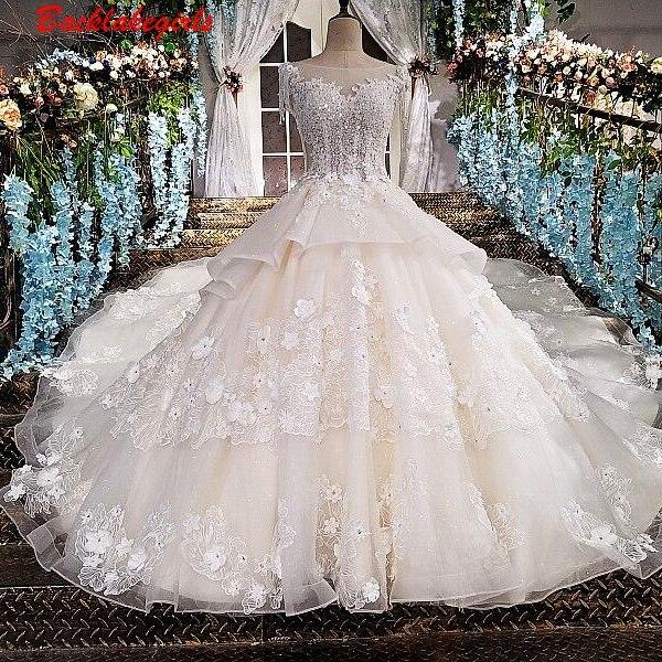 Us 363 0 00175 Berkualitas Tinggi Bead Peplum Gaun Pengantin Putih Pernikahan Mewah Elegan Renda Pernikahan Gaun Di Wedding Dresses Dari Pernikahan