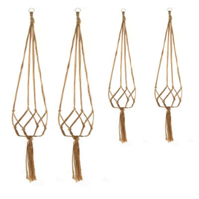 Knotted Macrame Plant Hanger Hook Vintage Cotton Linen Flowerpot Basket Lifting Rope Hanging Basket Pot Holder Garden Tools