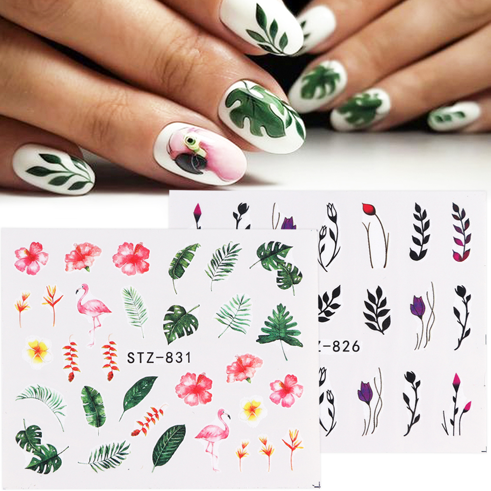 Full Beauty 1pcs Nail Stickers Green Leaf Flamingo Flowers Feather Water Decals