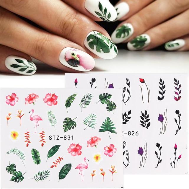 1 шт. новые наклейки для ногтей зеленые листья Фламинго Цветы перо водяные наклейки для ногтей искусство декоративные наклейки слайдеры Маникюр TRSTZ824-844