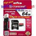 Высокая скорость Реальная 64 ГБ Transcend карта micro sd SDHC SDXC Class10 300x UHS-I карт памяти transcend tf карта С USB 3.0 Card читатель