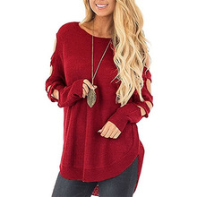 plus size sweater pullover pink harajuku autumn women sweaters computer knitted hollow out cold shoulder o-neck female mock neck cold shoulder sweater
