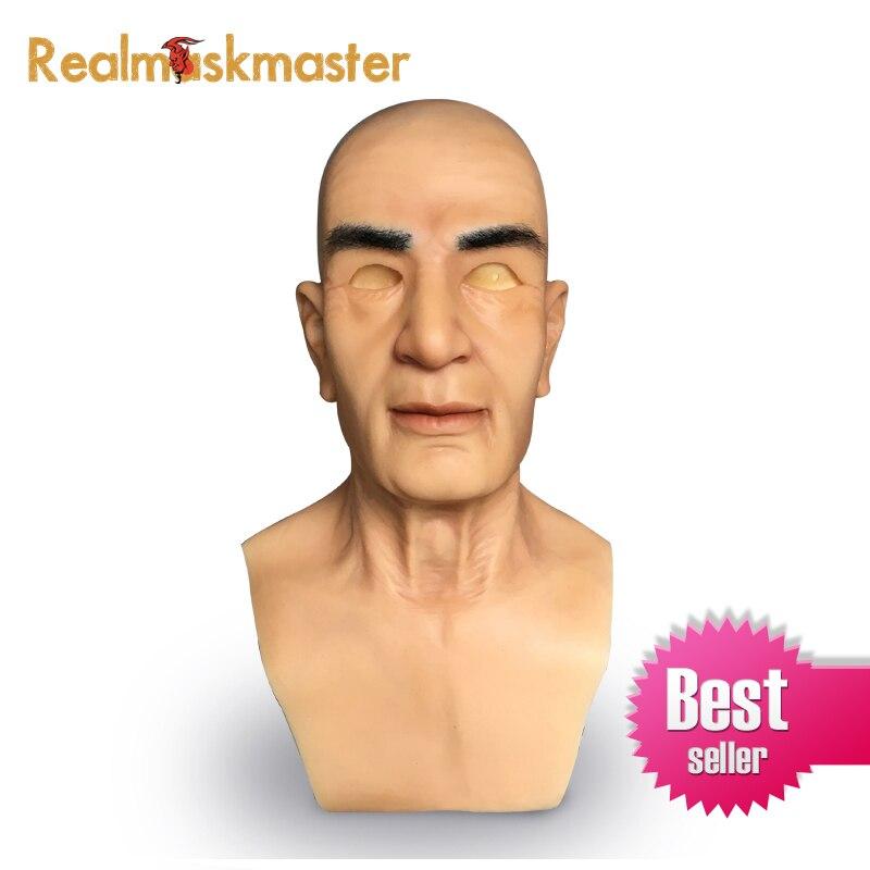 Realmaskmaster realistico del silicone maschera di halloween per uomo di partito forniture artificiale in lattice per adulti completa del fronte del partito fetish