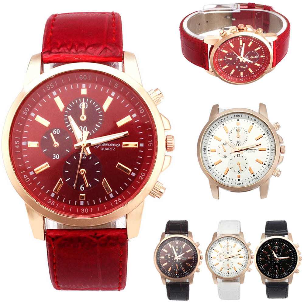2020 Fashion Gofuly Leather Analog Dial Quartz Sport Wrist Watch Unisex New Round Wristwatches Women Dress Watch Vintage Clock