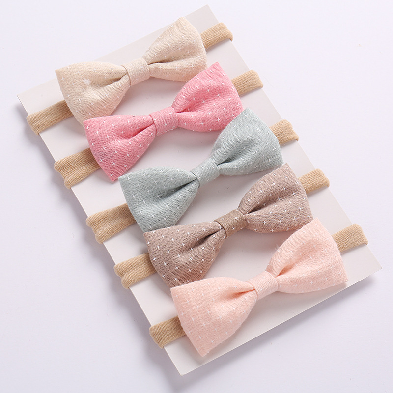 5pcs Girls Nylon Headband Hair Bows Head Band Elastic Bowknot Hairband for Children Kids Toddler Hai