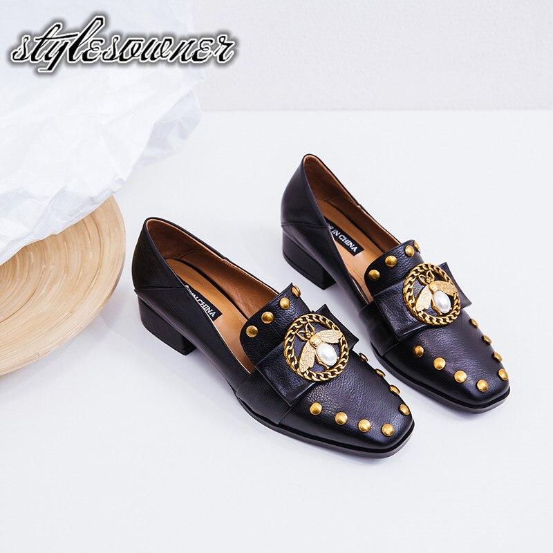 Sólido Casuales Novedad Hecho Negro De 2018 Bajos brown Cuero Popular Genuino Abeja Mano Color A Zapatos Stylesowner Mujer Black Tacones Con P1pnxq
